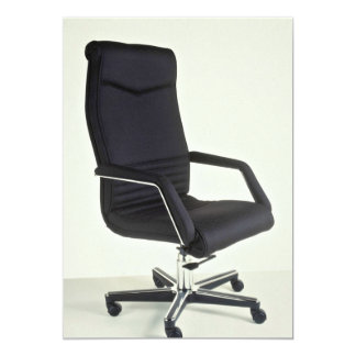 Leather and chrome executive chair 5x7 paper invitation card