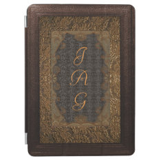 Leather And Gilded Lace Frame Monogram Ipad Air Cover at Zazzle