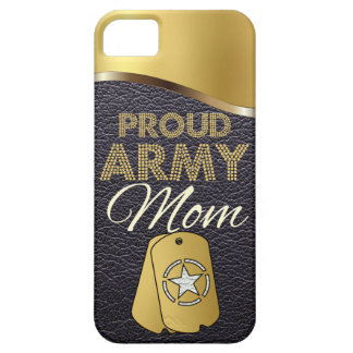 Leather and Gold Proud Army Mom iPhone SE/5/5s Case