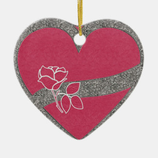 Leather and Lace Heart Ornament