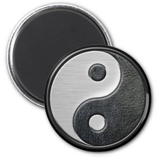 Leather and Steel Effect Yin Yang Graphic 2 Inch Round Magnet