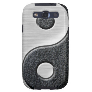 Leather and Steel Effect Yin Yang Graphic Samsung Galaxy S3 Cover