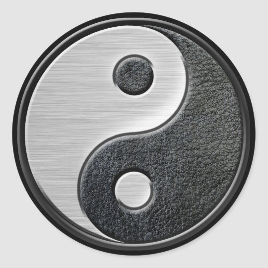 Leather and Steel Effect Yin Yang Graphic Classic Round Sticker