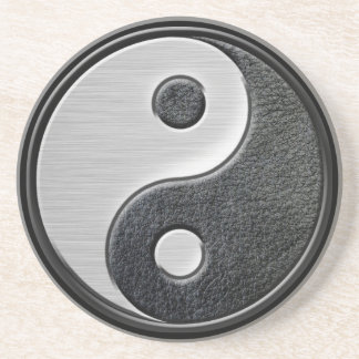 Leather and Steel Effect Yin Yang Graphic Drink Coaster