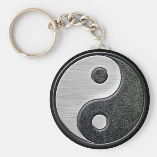 Leather and Steel Effect Yin Yang Graphic Keychain