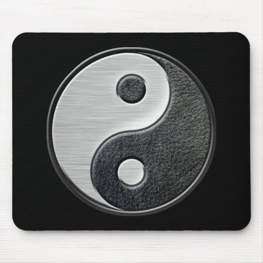 Leather and Steel Effect Yin Yang Graphic Mouse Pad