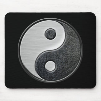 Leather and Steel Effect Yin Yang Graphic Mouse Pads