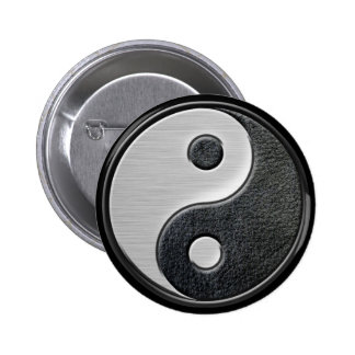 Leather and Steel Effect Yin Yang Graphic Pinback Button