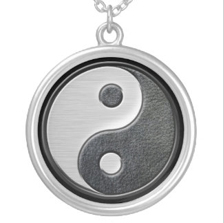Leather and Steel Effect Yin Yang Graphic Round Pendant Necklace