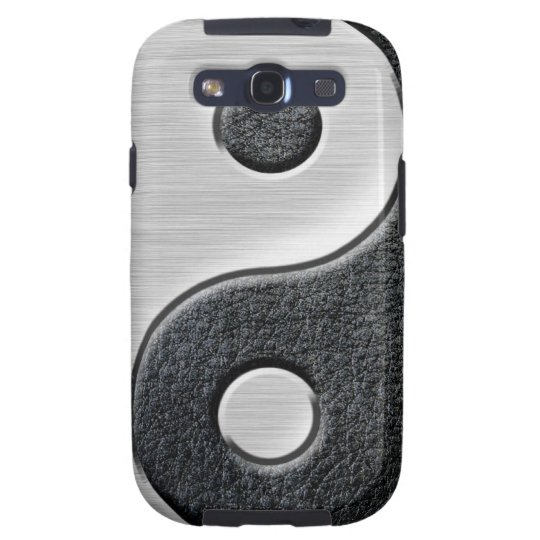 Leather and Steel Effect Yin Yang Graphic Samsung Galaxy S3 Case