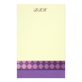 Leather and tile purple monogram stationery
