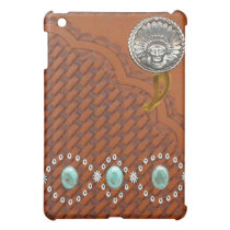 "Leather ""Apache"" Turquoise Western IPad Case"