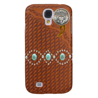 """Leather """"Apache"""" Turquoise Western IPhone 3 Case"""