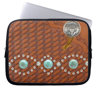 """Leather """"Apache"""" Turquoise Western Laptop Sleeve"""