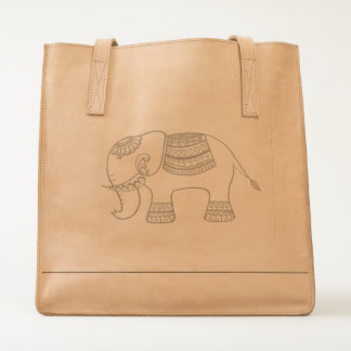 Leather bag with elephant design