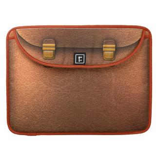 Leather bag with golden ties MacBook pro sleeve
