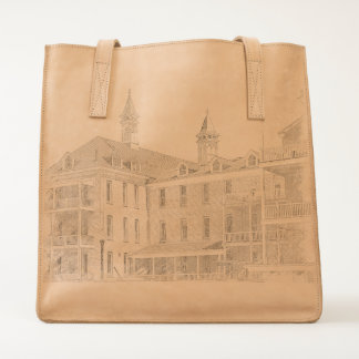 Leather bag with the Sanitarium in Traverse City..