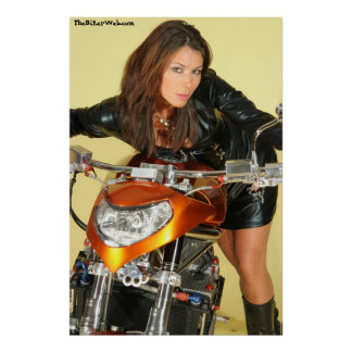 Leather Biker Chick Poster