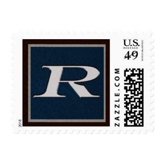 Leather Book Monogram Stamp- R Postage