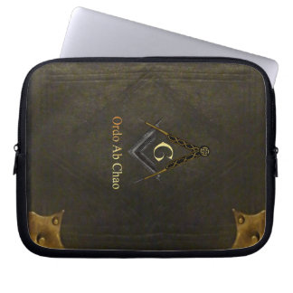 Leather Bound Book with Square and Compass Computer Sleeves