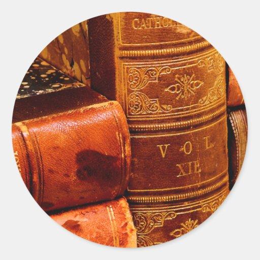 Leather Bound Books Classic Round Sticker
