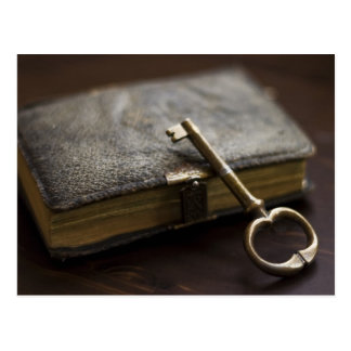 Leather Bound Diary Under Lock and Key Postcard