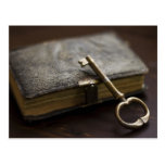 Leather Bound Diary Under Lock and Key Postcards