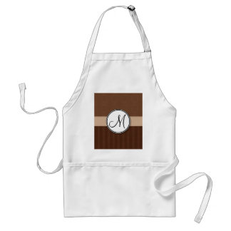 Leather Brown Damask with Stripes and Monogram Adult Apron