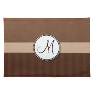 Leather Brown Damask with Stripes and Monogram Cloth Placemat