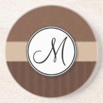 Leather Brown Damask with Stripes and Monogram Drink Coaster