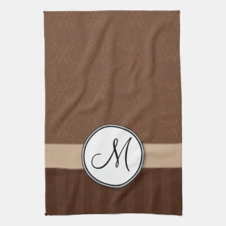 Leather Brown Damask with Stripes and Monogram Hand Towels
