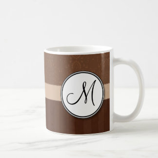 Leather Brown Damask with Stripes and Monogram Classic White Coffee Mug
