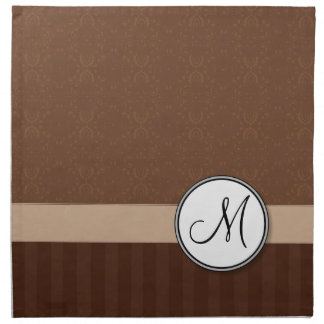 Leather Brown Damask with Stripes and Monogram Printed Napkins