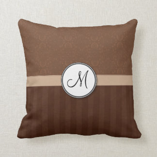 Leather Brown Damask with Stripes and Monogram Pillows