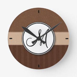 Leather Brown Damask with Stripes and Monogram Round Clock