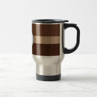 Leather Brown Damask with Stripes and Monogram Travel Mug