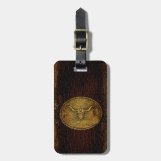Leather Buckled Steer Tag For Bags