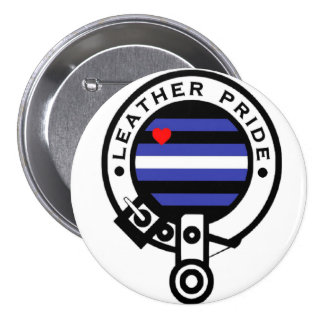 leather clan pinback button