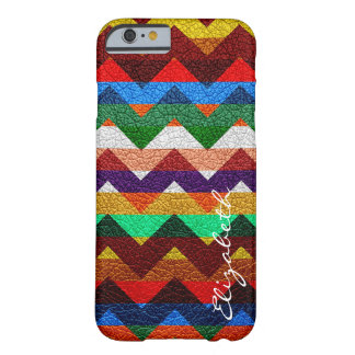 Leather Colorful Chevron Stripes Monogram #17 Barely There iPhone 6 Case