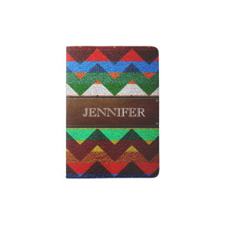 Leather Colorful Chevron Stripes Monogram #5 Passport Holder