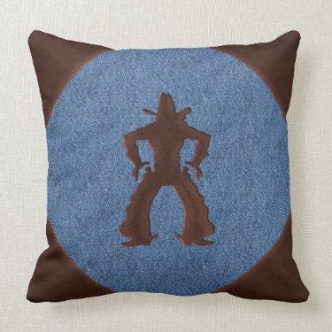 Leather Cowboy Drawing Guns on Denim (Sq. Pillow)