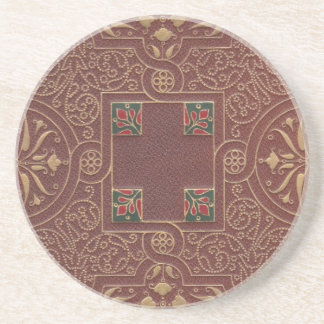 Leather Design, Antique Style Sandstone Coaster