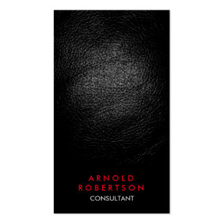 Leather Effect Black Red Consultant Business Card