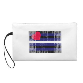 LEATHER FLAG DISTRESSED WRISTLET CLUTCH