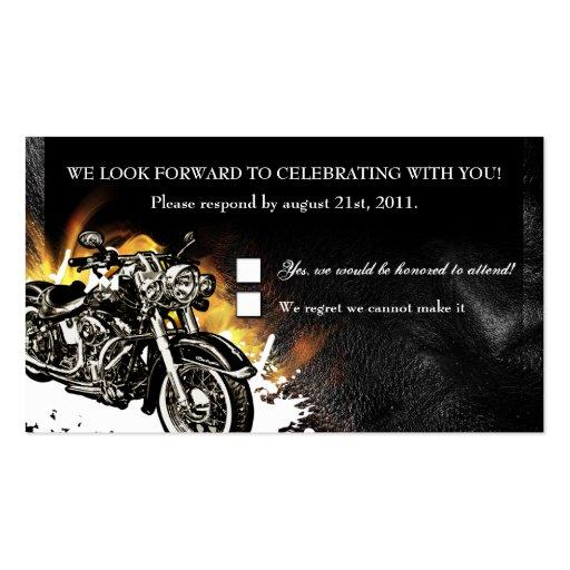 Leather & Flames Biker RSVP Reception card Business Card Template