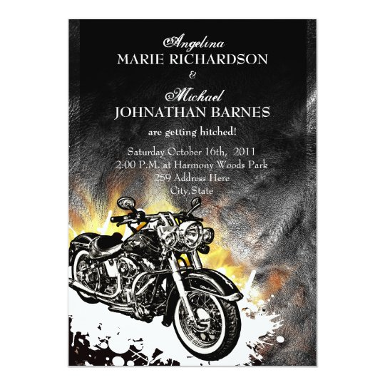 Leather & Flames Offbeat Biker Wedding Invitation | Zazzle.com