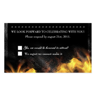 Leather Flames Studs RSVP Reception card Business Cards