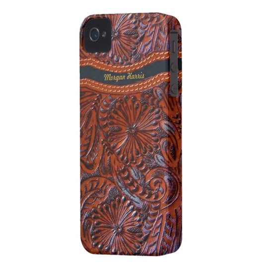 leather floral  iphone case-personalizable iPhone 4 Case-Mate case