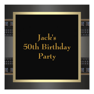 Leather Gold Mans 50th Birthday Party Card