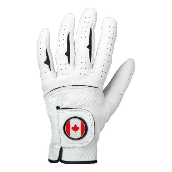 Leather Golf Glove with Flag of Canada